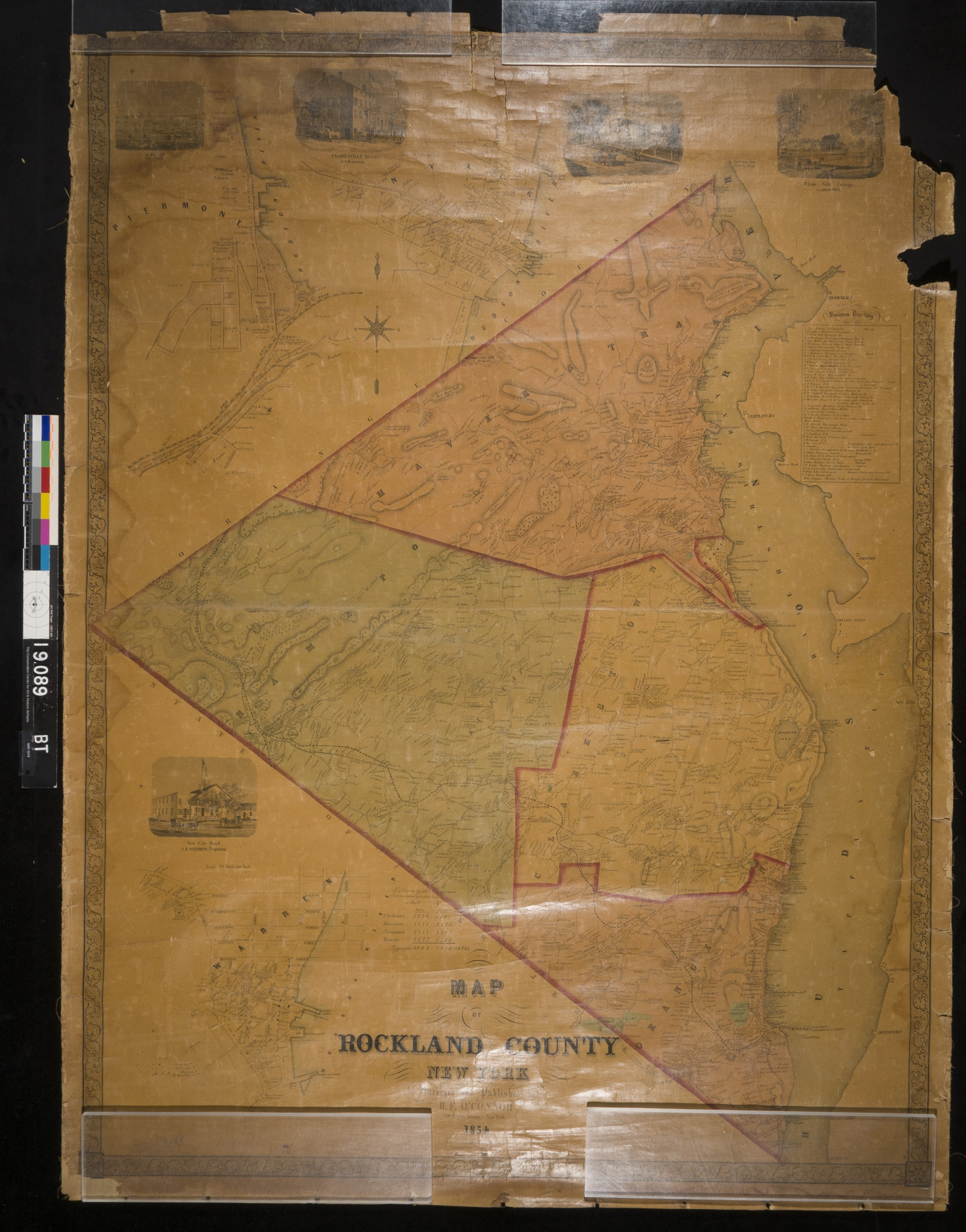 1854 Map of Rockland County, NY, before treatment