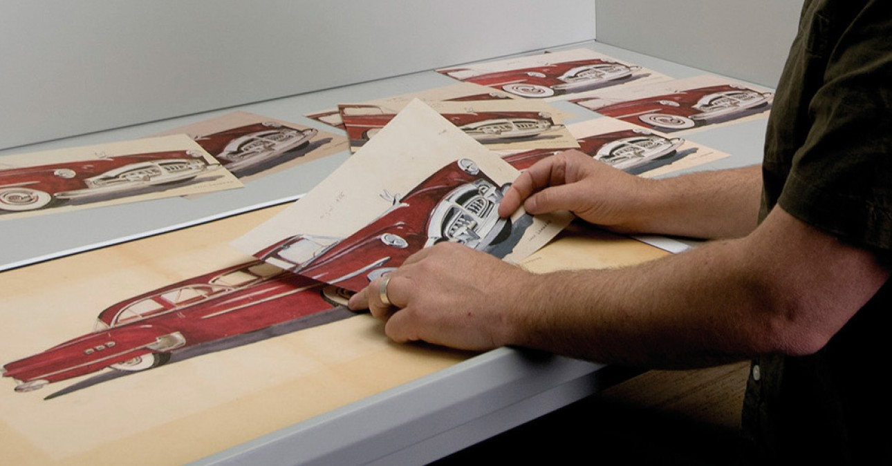 Andy with facsimile prints