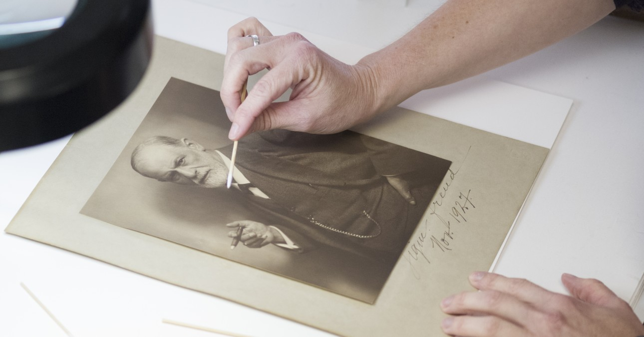 Removing a stain from a photograph of Freud
