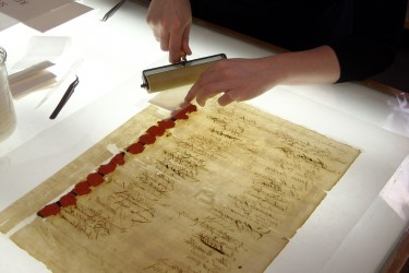 Rolling the PA Constitution on a light table