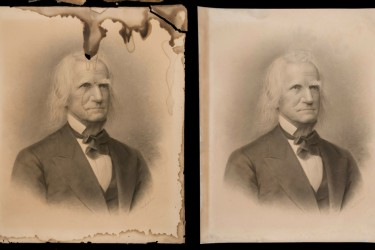 Water-damaged portrait before and after