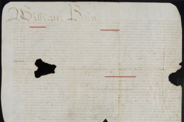 1701 land deed signed by William Penn