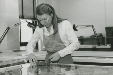 Mary Schobert working in the lab, early 80s